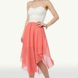 White and orange rue 21 strapless dress